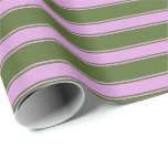 [ Thumbnail: Dark Olive Green and Plum Stripes Pattern Wrapping Paper ]