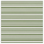 [ Thumbnail: Dark Olive Green and White Colored Stripes Fabric ]