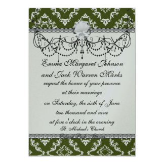 dark olive green and white diamond damask card