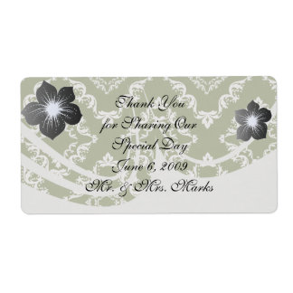 dark olive green and white diamond damask shipping label