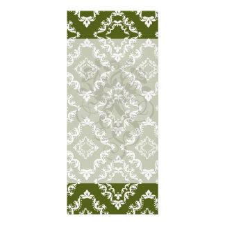 dark olive green and white diamond damask customized rack card