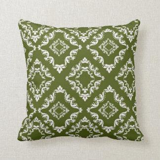 dark olive green and white diamond damask throw pillow