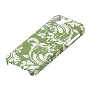 Dark Olive Green and white floral damask iPhone 5 Case