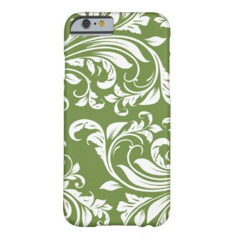 Dark Olive Green and white floral damask iPhone 6 Case