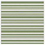 [ Thumbnail: Dark Olive Green and White Lined Pattern Fabric ]
