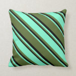 [ Thumbnail: Dark Olive Green, Aquamarine, and Black Colored Throw Pillow ]
