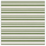 [ Thumbnail: Dark Olive Green & Beige Stripes Fabric ]