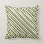 [ Thumbnail: Dark Olive Green & Beige Stripes Throw Pillow ]