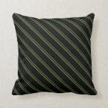 [ Thumbnail: Dark Olive Green & Black Colored Lined Pattern Throw Pillow ]
