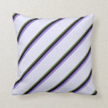 [ Thumbnail: Dark Olive Green, Black, Purple & Lavender Colored Throw Pillow ]