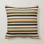 [ Thumbnail: Dark Olive Green, Brown, White & Black Pattern Throw Pillow ]