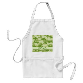 Dark Olive Green Camo Camouflage Name Personalized Adult Apron