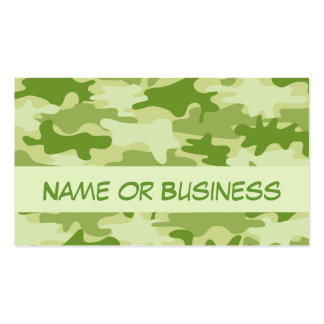 Dark Olive Green Camo Camouflage Name Personalized Business Card