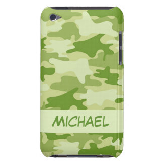 Dark Olive Green Camo Camouflage Name Personalized iPod Touch Covers
