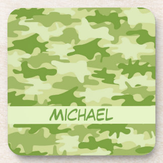 Dark Olive Green Camo Camouflage Name Personalized Coaster