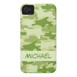 Dark Olive Green Camo Camouflage Name Personalized iPhone 4 Case-Mate Case