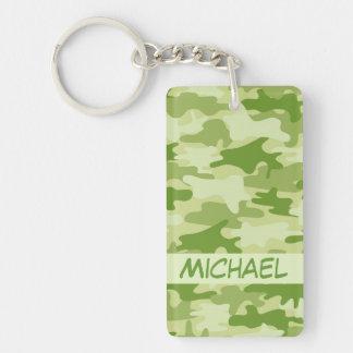 Dark Olive Green Camo Camouflage Name Personalized Double-Sided Rectangular Acrylic Keychain