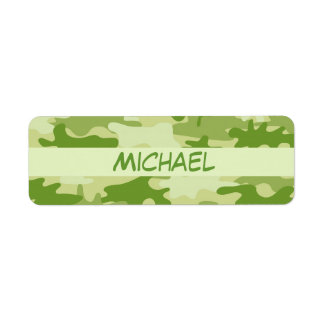 Dark Olive Green Camo Camouflage Name Personalized Label