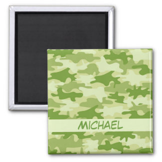 Dark Olive Green Camo Camouflage Name Personalized Magnet