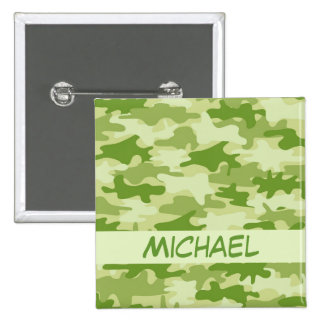 Dark Olive Green Camo Camouflage Name Personalized Pinback Button