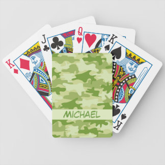 Dark Olive Green Camo Camouflage Name Personalized Bicycle Poker Cards