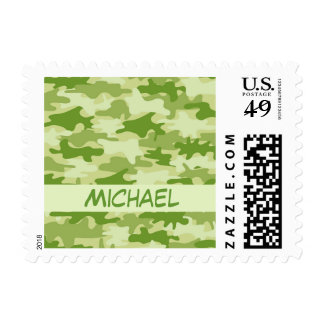 Dark Olive Green Camo Camouflage Name Personalized Postage