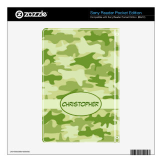 Dark Olive Green Camo Camouflage Name Personalized Sony Reader Skins