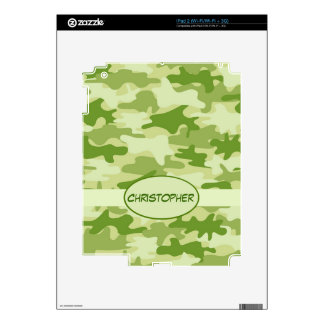 Dark Olive Green Camo Camouflage Name Personalized Skins For iPad 2