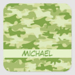 Dark Olive Green Camo Camouflage Name Personalized Sticker