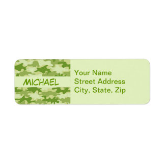 Dark Olive Green Camo Camouflage Personalized Name Labels