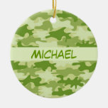 Dark Olive Green Camo Camouflage Personalized Name Ornaments