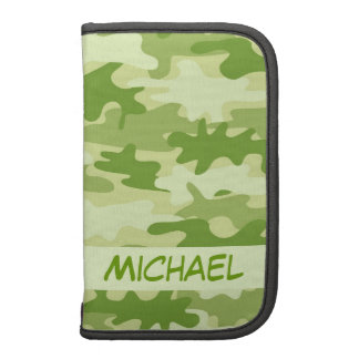 Dark Olive Green Camo Camouflage Personalized Name Folio Planners