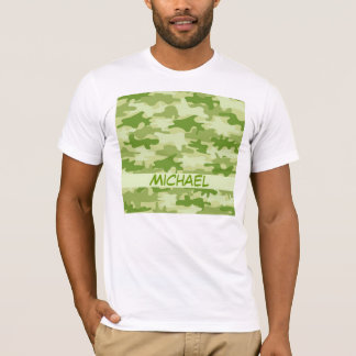 Dark Olive Green Camo Camouflage Personalized Name T-Shirt