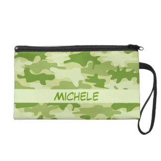 Dark Olive Green Camo Camouflage Personalized Name Wristlet Purse