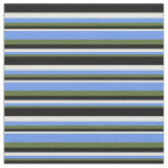 [ Thumbnail: Dark Olive Green, Cornflower Blue, Beige & Black Fabric ]