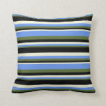 [ Thumbnail: Dark Olive Green, Cornflower Blue, Beige & Black Throw Pillow ]