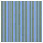 [ Thumbnail: Dark Olive Green & Cornflower Blue Colored Lines Fabric ]