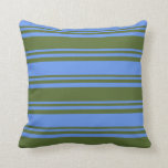 [ Thumbnail: Dark Olive Green & Cornflower Blue Colored Lines Throw Pillow ]