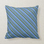 [ Thumbnail: Dark Olive Green & Cornflower Blue Pattern Pillow ]