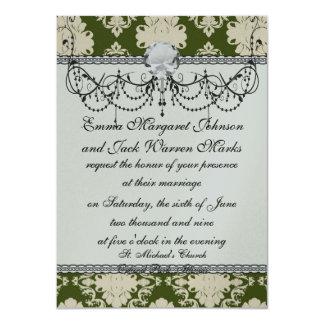 dark olive green cream romantic damask card