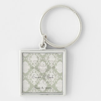 dark olive green cream romantic damask keychain