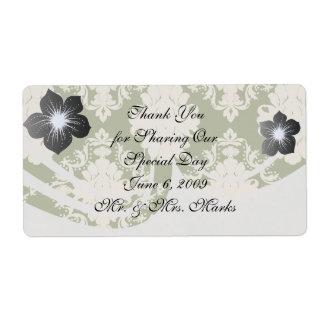 dark olive green cream romantic damask shipping label