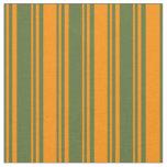 [ Thumbnail: Dark Olive Green & Dark Orange Colored Lines Fabric ]