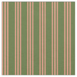 [ Thumbnail: Dark Olive Green & Dark Salmon Lines Fabric ]