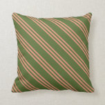 [ Thumbnail: Dark Olive Green & Dark Salmon Lines Throw Pillow ]