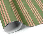 [ Thumbnail: Dark Olive Green & Dark Salmon Lines Wrapping Paper ]