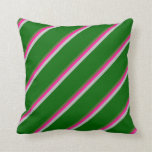 [ Thumbnail: Dark Olive Green, Deep Pink, Grey & Dark Green Throw Pillow ]