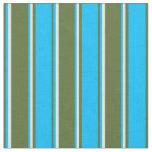 [ Thumbnail: Dark Olive Green, Deep Sky Blue & Mint Cream Fabric ]