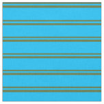 [ Thumbnail: Dark Olive Green & Deep Sky Blue Stripes Fabric ]
