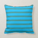 [ Thumbnail: Dark Olive Green & Deep Sky Blue Stripes Pillow ]
